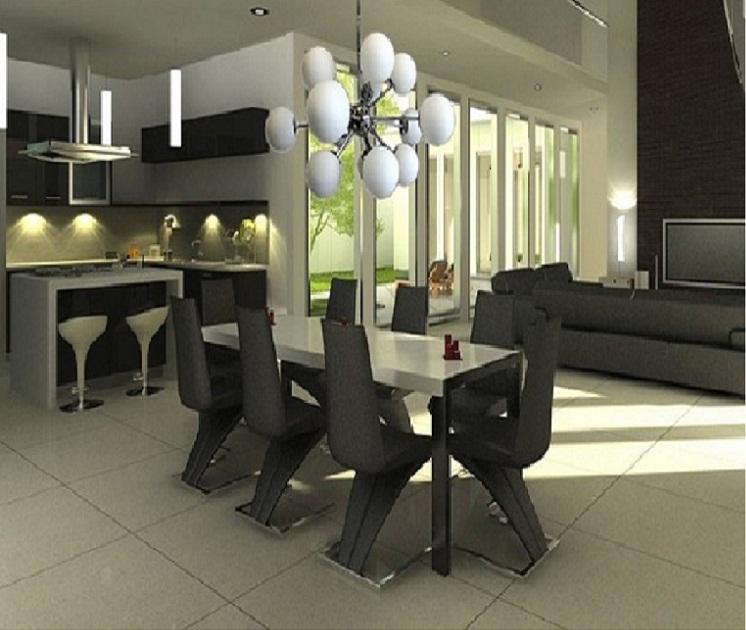modern dining room with sputnik chandelier