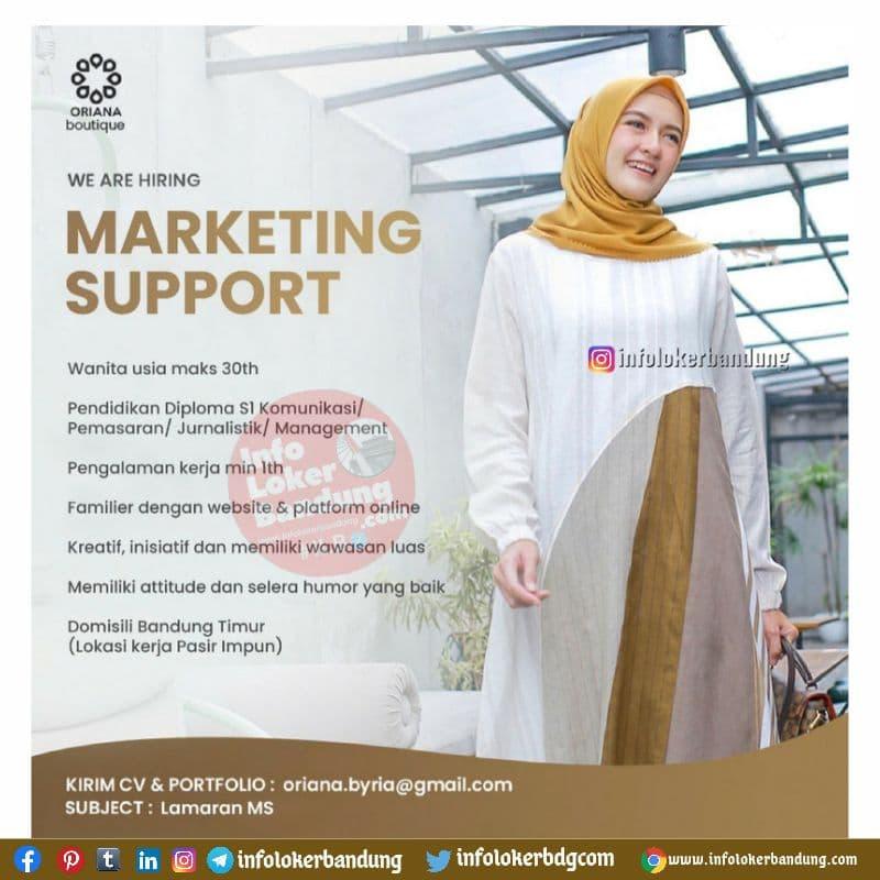 Lowongan Kerja Marketing Support Oriana Boutique Bandung Juni 2021