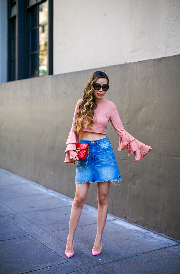 MIssguided ruffle crop top, tiered ruffle top, karen walker super duper sunglasses, gucci marmont shoulder bag, madewell denim skirt, christian louboutin pink pumps, spring outfit ideas, date night outfit ideas, ruffle top, san francisco street style, san francisco fashion blog