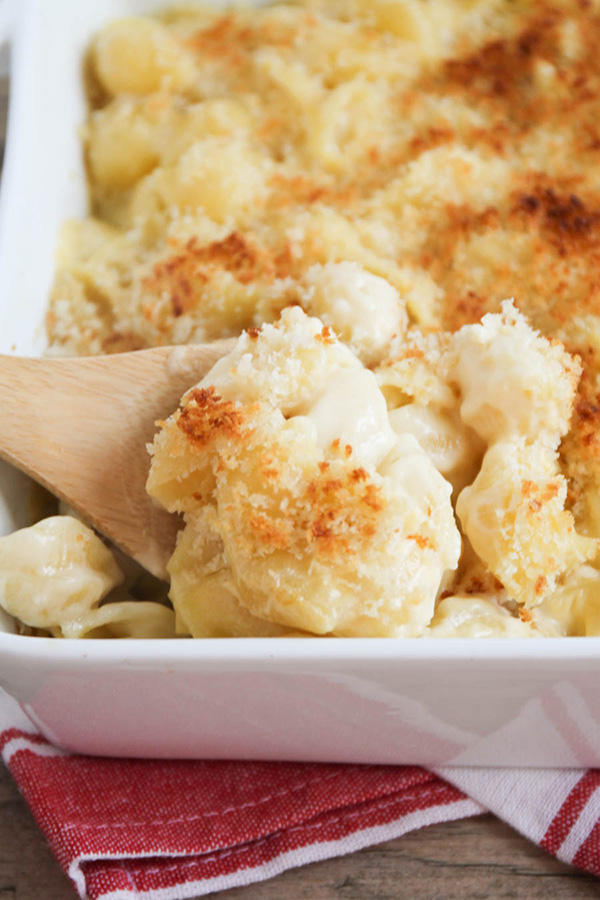 Creamy baked shells and cheese - so easy to make and the perfect comfort food recipe!