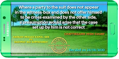 Where a party to the suit does not appear in the witness-box and does not offer himself to be cross-examined by the other side, a presumption would arise that the case set up by him is not correct