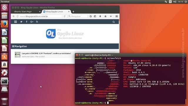 """Área de trabalho do Ubuntu 17.04 """"Zesty Zapus"""", com desktop Unity 7"""