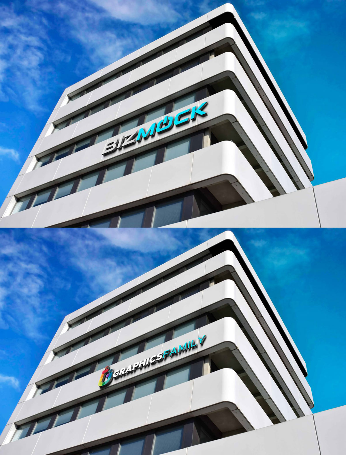 3D Sign Building Logo Mock Up Free Download