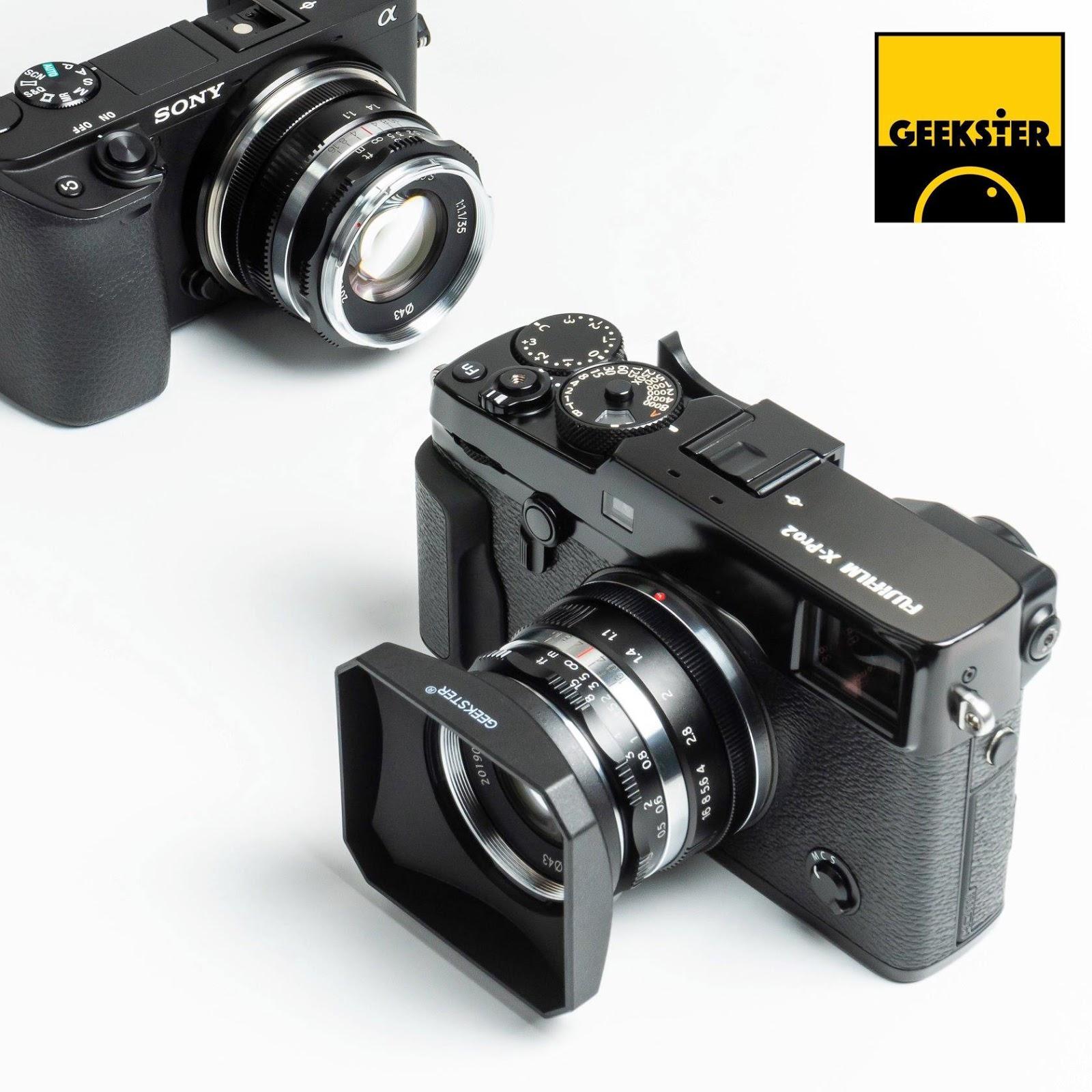 Объектив Geekster 35mm f/1.1 с камерой Fujifilm