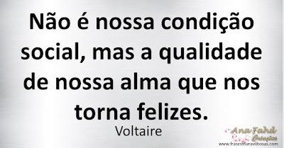Não é nossa condição social, mas a qualidade de nossa alma que nos torna felizes. Voltaire