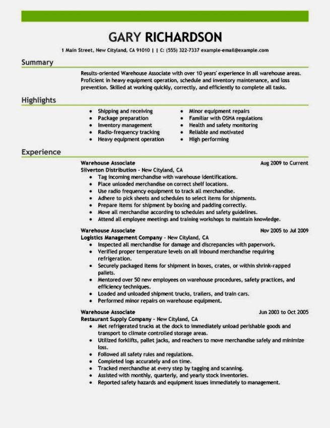 sample resume warehouse worker