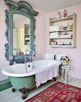 Vintage rustic wall mirror for unique bathroom decor and dusty pink walls