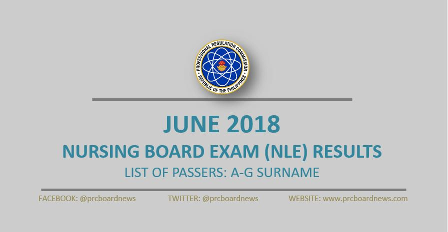 A-G Passers List: June 2018 NLE nursing board exam result