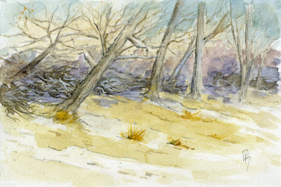 art mixed media watercolor nature winter