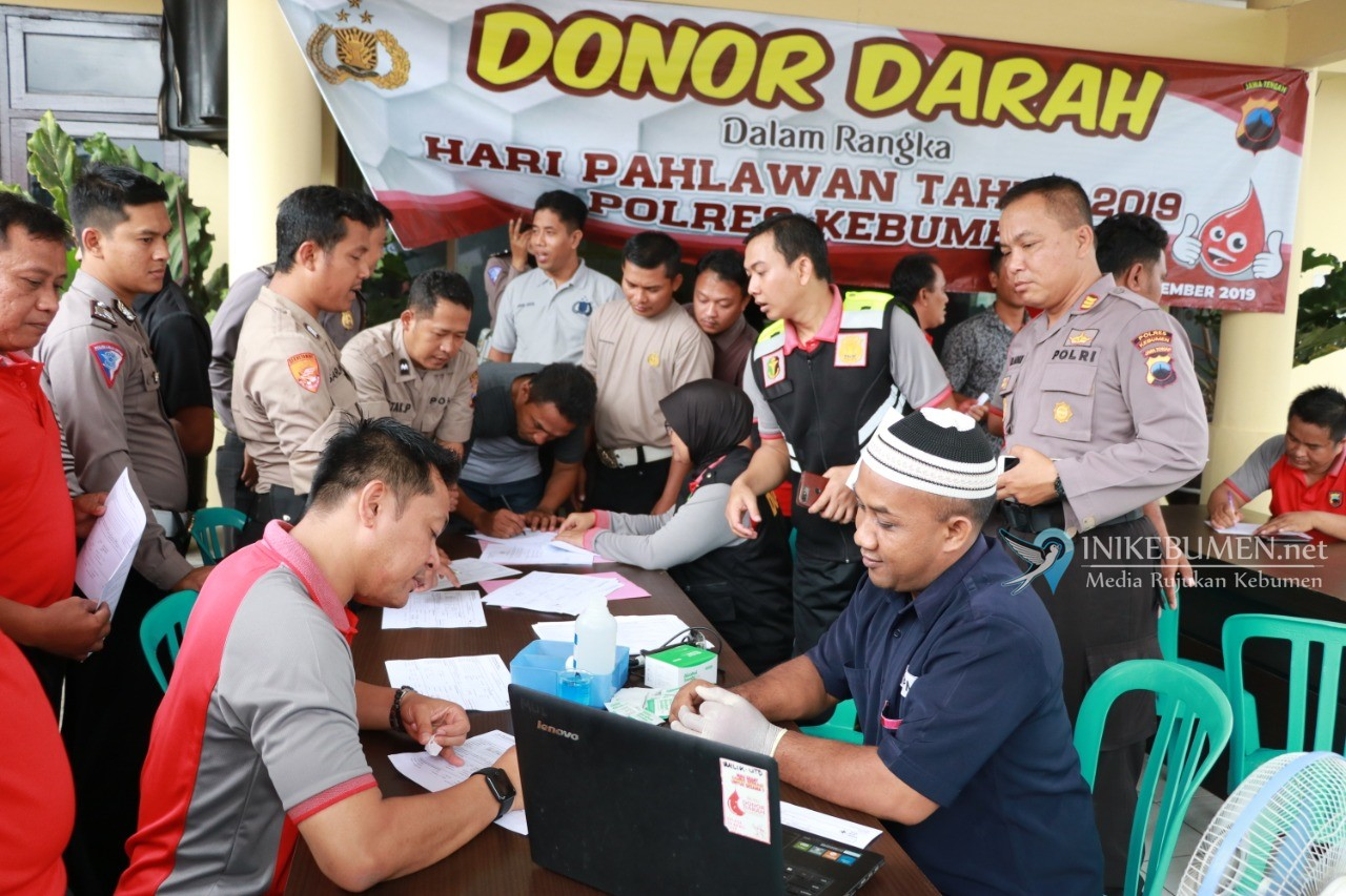 Peringati Hari Pahlawan, Polres Kebumen Gelar Donor Darah