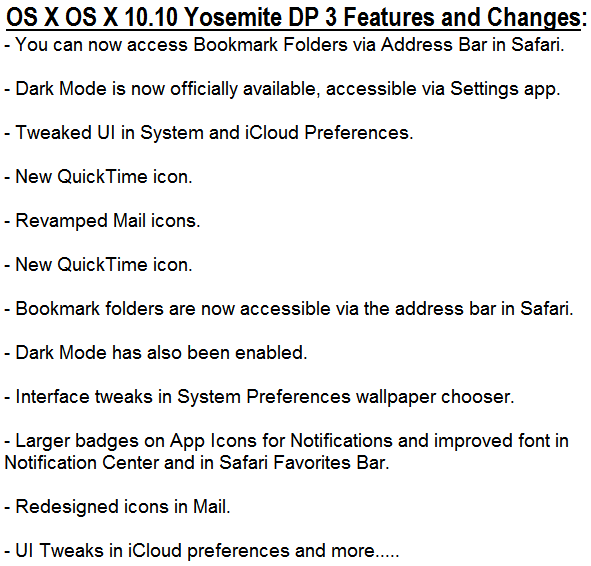 Mac OS X 10.10 Yosemite DP 3 (14A283o) Features and Changes