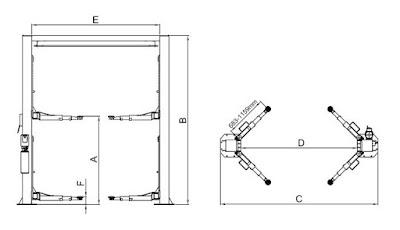 Bảng vẽ chi tiết thiết kế cầu nâng 2 trụ Peak 208C