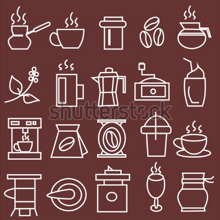 illustration vector collection caffe equipment sign icon