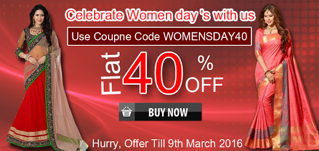 Womens day special gift with exciting mega discount offer sale and deal on sarees salwar suits kurtis online shopping with free shipping and cash on delivery in India
