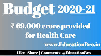 Union Budget 2020-21 allocates Rs 69,000 crore for Health Care Programmes