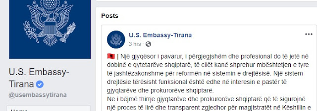 US Embassy in Tirana call: The 'KLGJ and 'KLP' must be raised this week