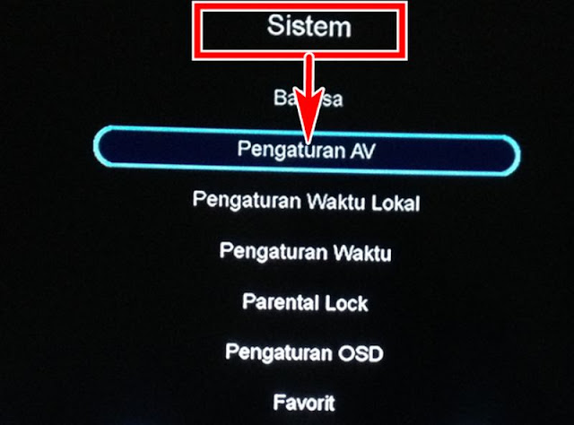 Menu Pengaturan AV