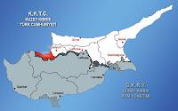 Kıbrıs haritasında Lefke ilçesinin gösterimi