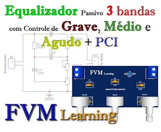 Equalizador Passivo 3 bandas com Controle de Graves, Médios e Agudos + PCI
