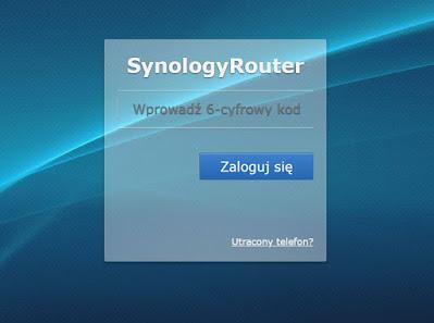 Prośba o podanie kodu uwierzytelniania dwuskładnikowego przy próbie zalogowania do routera Synology RT2600AC
