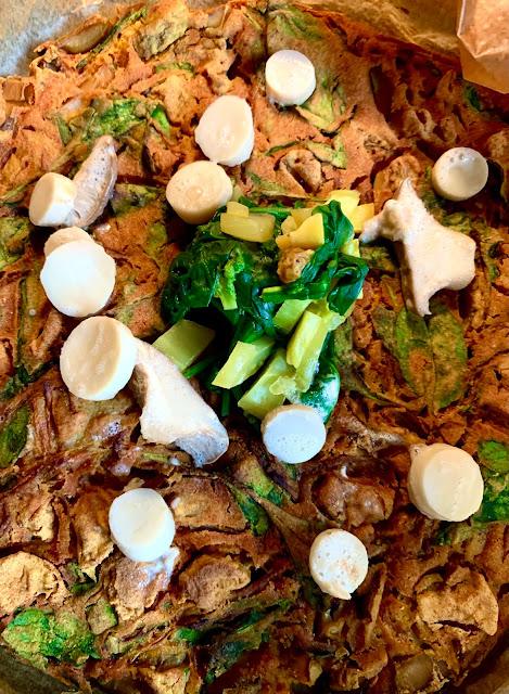 Omelett mit Kräuterseitlingen, Rezept, glutenfrei, vegan, Spinat Mungbohnen, fernöstlich, ,schnelle Rezepte