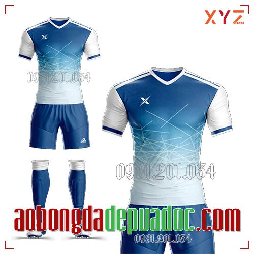 Áo Ko Logo XYZ-02 Màu Trắng Xanh