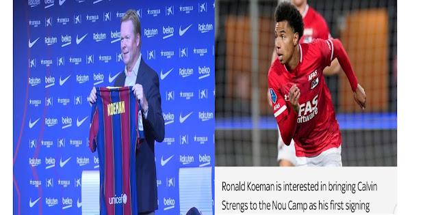 Current Barcelona head coach Ronald Koeman signs Calvin Strengs, an AZ Alkmaar winger