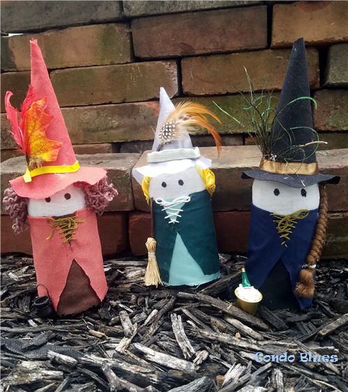 DIY recycled glass bottle witch Halloween decorations