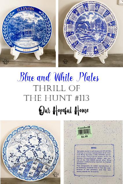 blue white porcelain plates tin tray Ming chrysanthemum pattern