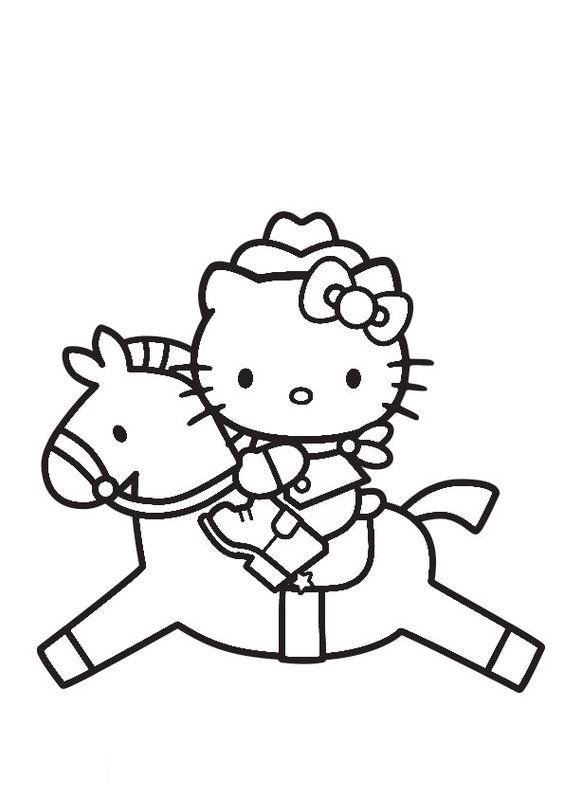 Tranh tô màu mèo hello kitty cưỡi ngựa