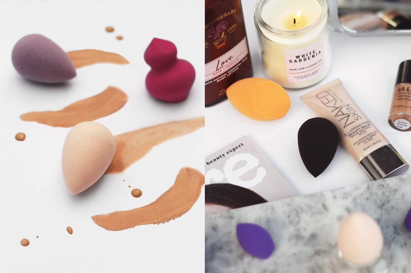 makeup sponges with makeup swatches, makeup sponge application, makeup sponges, makeup flatlay, beautyblender with cheaper alternatives, beauty comparisons, beauty blogger