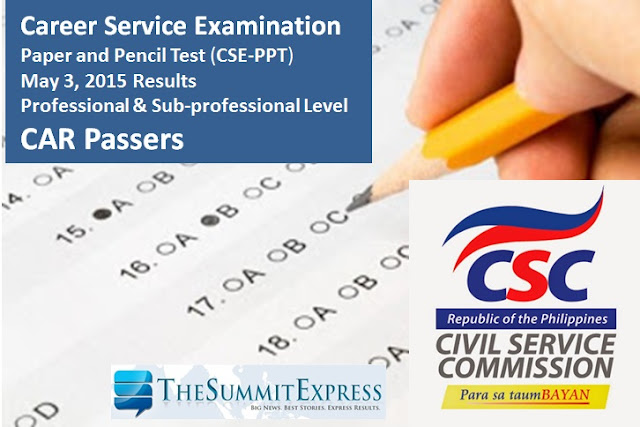 May 2015 Civil service exam results (CSE-PPT) CAR