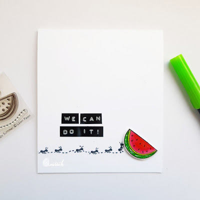lawn fawn happy summer stamp, watermelon card, ants card, CAS, quillish, clean and simple card, card by ishani, quillish, tombow markers coloring, dymo label maker, sentiments with dymo
