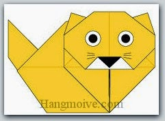 Bước 16: Vẽ mắt, mũi, râu để hoàn thành cách xếp con mèo ba tư bằng giấy theo phong cách origami.
