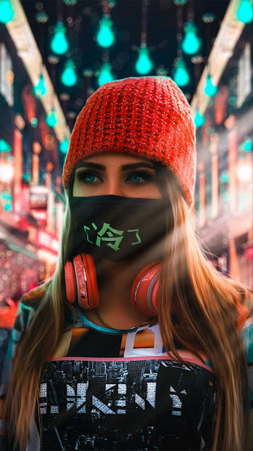 18 Art Neon Mask Girl Wallpapers 5K Ultra HD for Android and iPhone