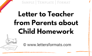 sample letter to teacher from parent about child homework
