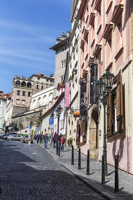 Nerudova Street near Prague Castle in Lesser Town Prague.