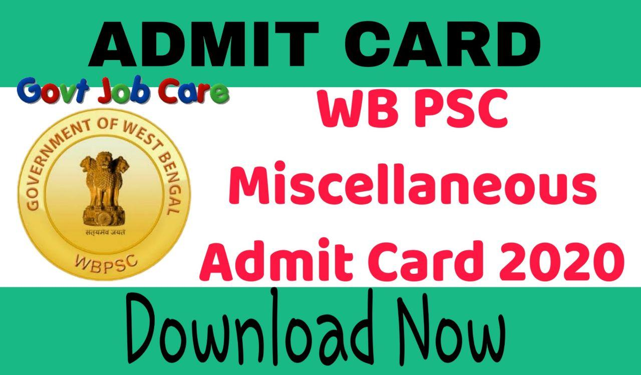 Psc Miscellaneous Admit Card