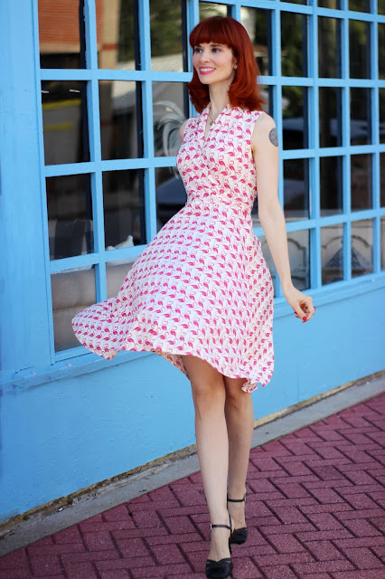Ruby Dress in Pink Flamingos from KarinaDresses.com  Summer Fashion Novelty Prints