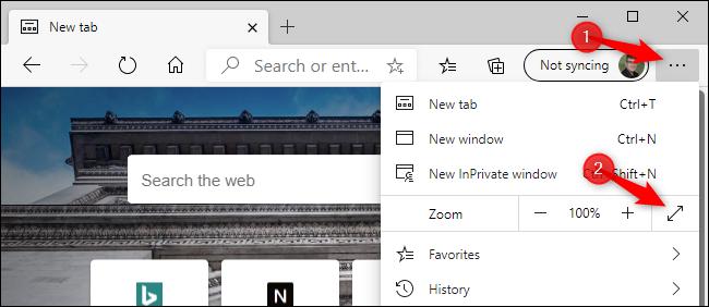 تمكين وضع ملء الشاشة في Microsoft Edge الجديد باستخدام الماوس.