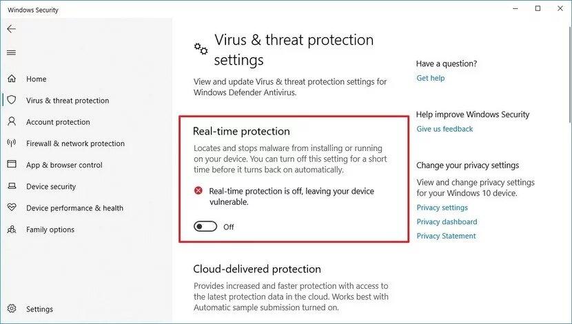 أمان Windows تعطيل خيار الحماية من العبث