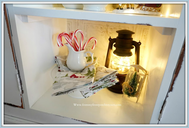French- Farmhouse- Cottage -White- Dining- Room -Cabinet-Christmas- Vignettes-Fairy-Light-Lantern-From My Front Porch To Yours