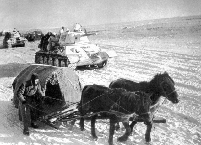 Soviet tanks and horses advancing during Operation Uranus worldwartwo.filminspector.com