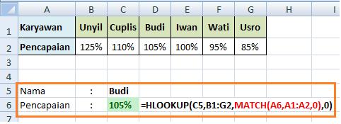 Contoh Formula HLOOKUP MATCH