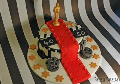 cake design, cinema cake, oscar cake, gumpaste, pâte à sucre, gâteau anniversaire, modelage gumpaste, gumpste modeling, patissi-patatta
