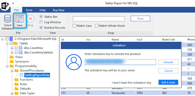 Stellar Repair for MS SQL Activation window