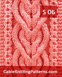 How to knit Cable Scarf Pattern 06 - Intertwined Heart in Celtic Knot