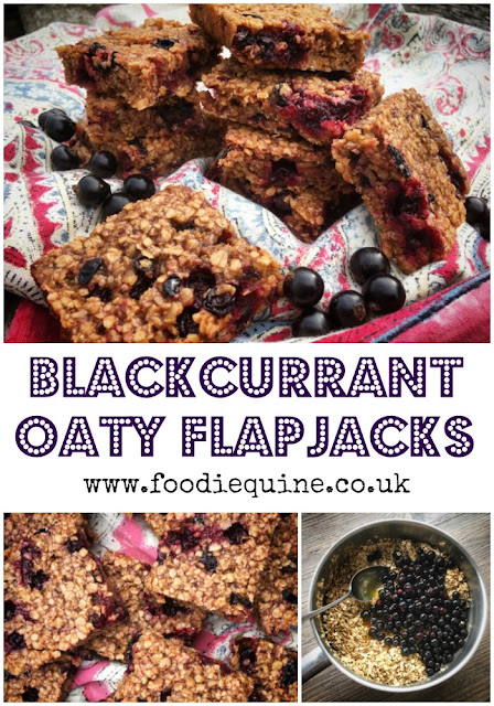 www.foodiequine.co.uk Sticky oaty blackcurrant flapjacks. The ideal way to use up a glut of summer fruit and super quick and easy to make. The blackcurrants almost go jam like when baked with the oats and syrup. Perfect for breakfast, lunchboxes or simply with a cuppa.