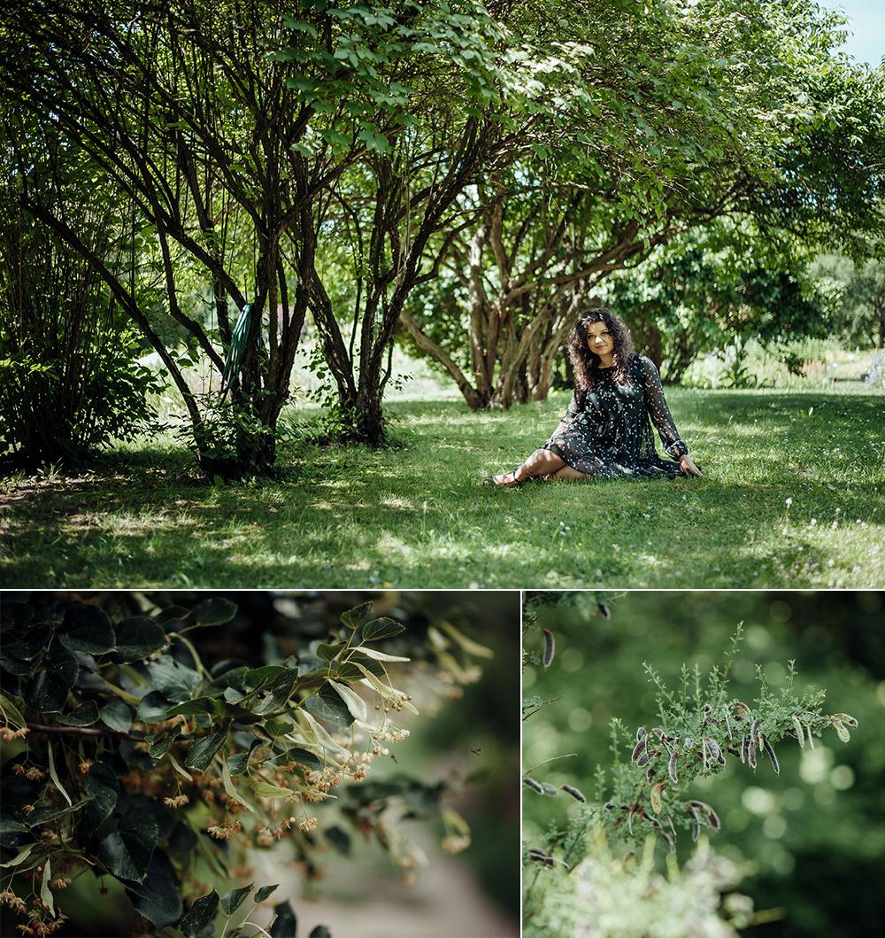 kobieta, ogród botaniczny, Lublin, fotograf, czarna sukienka