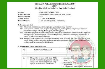 RPP PAI SD Kelas 3 Kurikulum 2013 Semester 1 Revisi 2018